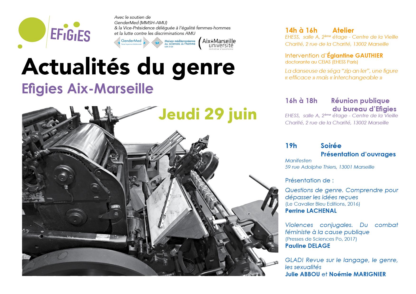 Affiche et programme de la journée Actualités du Genre organisée à Marseille par Efigies le 29 juin 2017